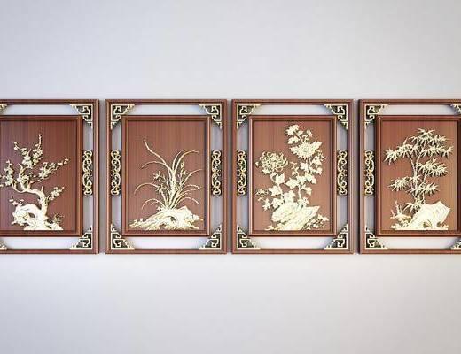 中式梅兰竹菊浮雕, 雕刻画, 墙饰