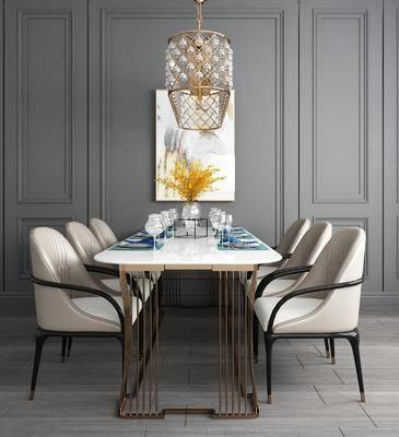 桌椅组合, 餐桌, 餐椅, 单人椅, 餐具, 装饰画, 挂画, 吊灯, 现代轻奢