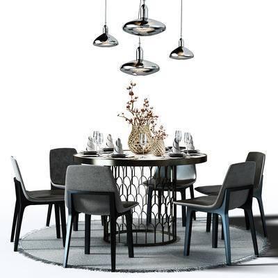 圆桌, 桌椅组合, 餐桌椅, 餐桌椅组合, 餐桌, 桌椅, 吊灯, 盆景, 植物, 圆地毯, 地毯, 现代