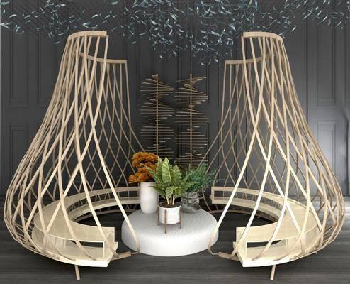 竹编休闲椅, 藤编休闲沙发椅, 艺术吊灯, 花瓶摆件