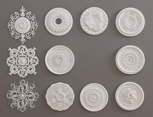 石膏灯盘, 构件雕花, 欧式