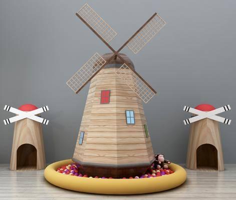 风车, 大风车, 荷兰风车, 风车摆件, 田园风车, 海洋球, 玩具, 装饰品, 现代