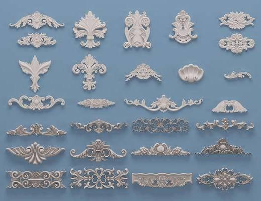 欧式石膏雕刻, 雕花, 单花, 对角花