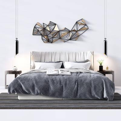 卧室, 双人床, 边柜, 吊灯, 墙饰, 现代