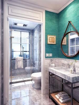 衛生間, 馬桶, 裝飾鏡, 擺件, 裝飾品, 陳設品, 花灑, 北歐