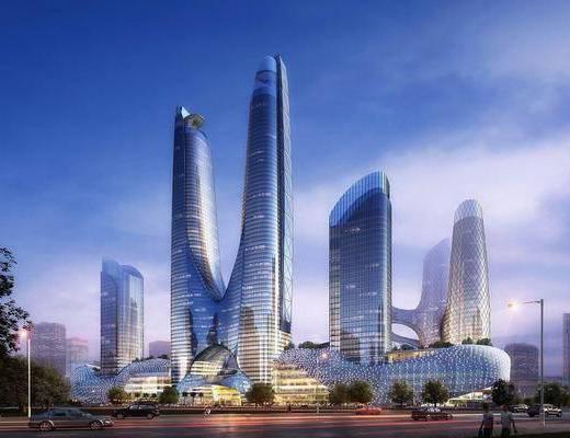 办公楼, 公共建筑, 树木, 人物, 陆地灯, 绿植植物, 汽车, 商业楼, 现代