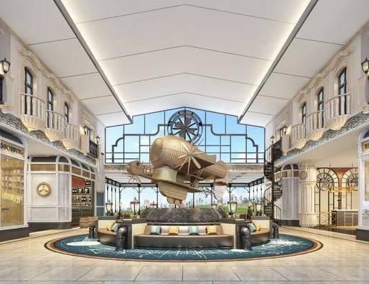 商场, 大厅, 欧式商场, 欧式大厅, 欧式, 水池, 雕塑