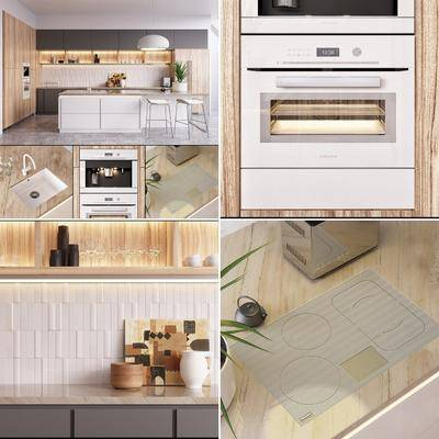橱柜组合, 厨具, 吧台, 吧椅, 单人椅, 洗手台, 现代