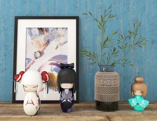 人物玩偶, 花瓶, 竹子, 装饰画, 挂画, 摆件, 现代