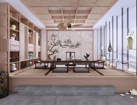 桌椅组合, 背景墙, 吊灯, 书柜
