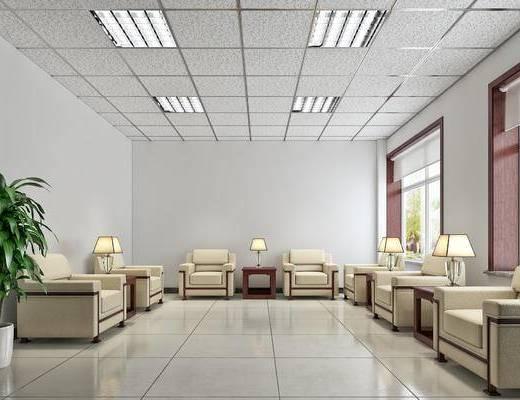 新中式, 会客厅, 接待室, 洽谈室, 现代