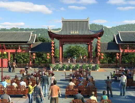 古建戏台, 古建, 中式, 中式椅, 户外, 凉亭, 瓦