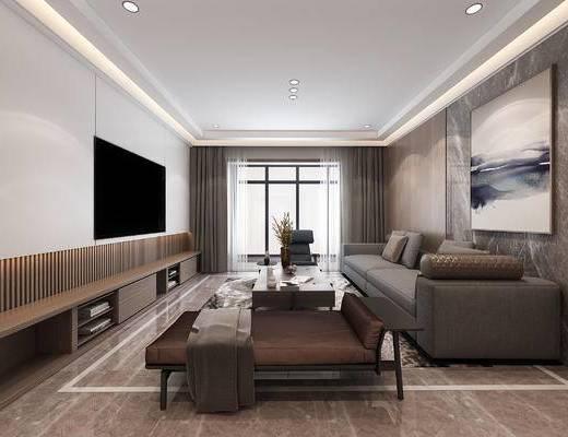 现代客厅, 现代沙发, 沙发组合, 沙发茶几组合, 电视柜, 单人沙发