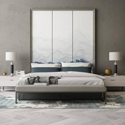 中式双人床, 床头柜, 台灯, 背景墙