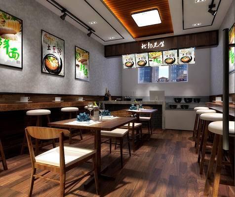 餐厅, 餐桌椅, 桌椅组合, 小吃店, 餐饮