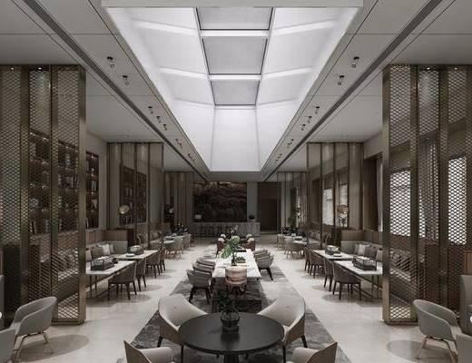 现代咖啡奶茶店, 餐桌, 单椅, 多人沙发, 书架, 现代