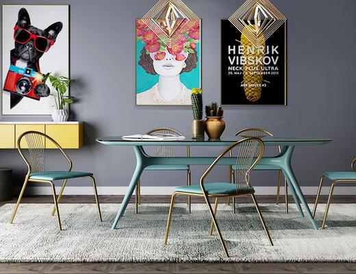 北欧简约, 桌椅组合, 挂画, 吊灯, 植物盆栽