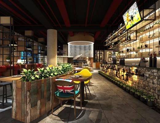 主题餐厅, 餐厅, 工业风餐厅, 桌椅组合, 吧台, 吧椅, 植物, 盆栽, 置物架, 摆件, 前台, 工业风