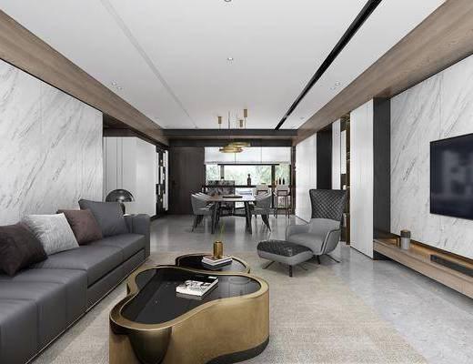 客厅, 餐厅, 多人沙发, 转角沙发, 边几, 台灯, 餐桌, 餐椅, 单人椅, 吊灯, 单人沙发, 凳子, 现代