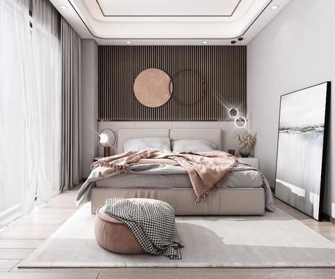 双人床, 墙饰, 床头柜, 吊灯, 装饰画