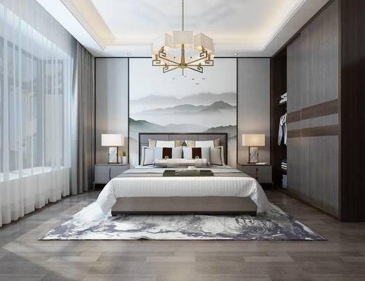 中式卧室, 卧室, 吊灯, 床, 床头柜, 衣柜