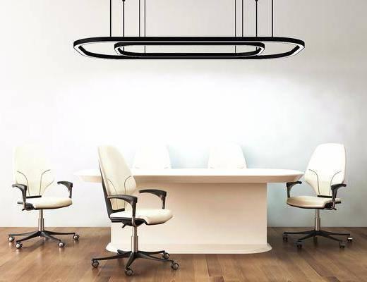 办公桌, 会议桌, 办公椅, 单椅, 轮滑椅, 现代, 吊灯