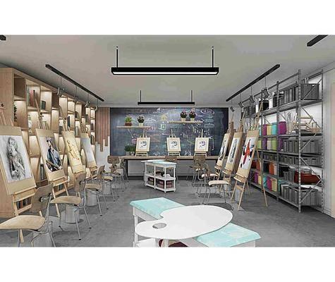 学校画室, 画架, 美术器材, 器材画板, 书架, 装饰柜, 书柜, 书籍, 单人椅, 盆栽, 花卉, 吊灯, 摆件, 装饰品, 陈设品, 现代