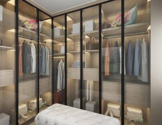 衣帽间, 衣柜, 服饰, 衣架, 玻璃门板, 后现代