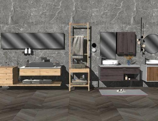 卫浴, 柜架组合, 洗手盆, 壁镜