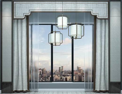 新中式, 窗帘, 吊灯