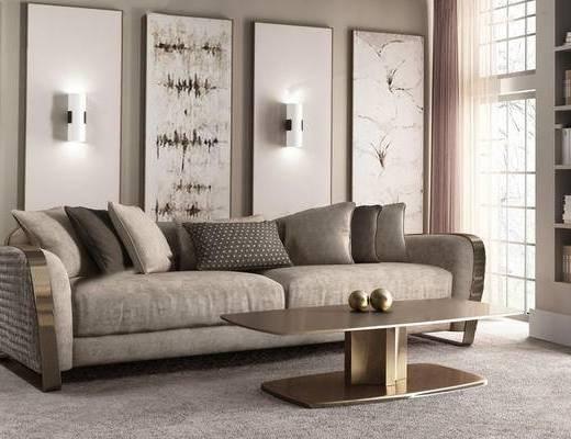 沙发组合, 壁灯, 茶几