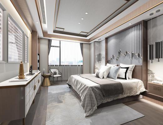 新中式卧室, 床, 装饰柜, 背景墙, 椅子