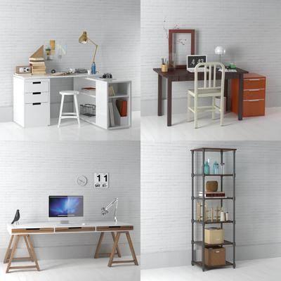 书桌, 单人椅, 装饰架, 台灯, 摆件, 北欧