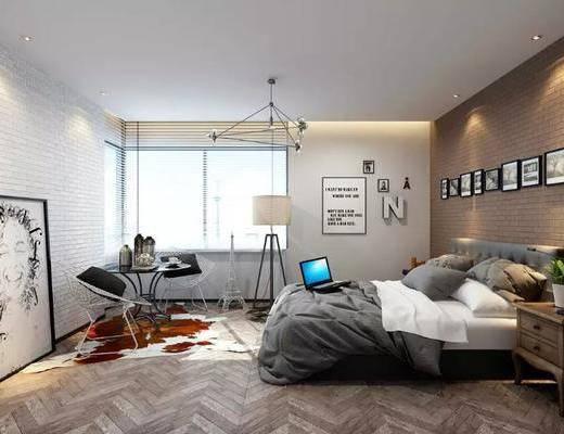 工业风, 卧室, 双人床, 单椅, 桌子, 边柜, 吊灯, 落地灯, 挂画