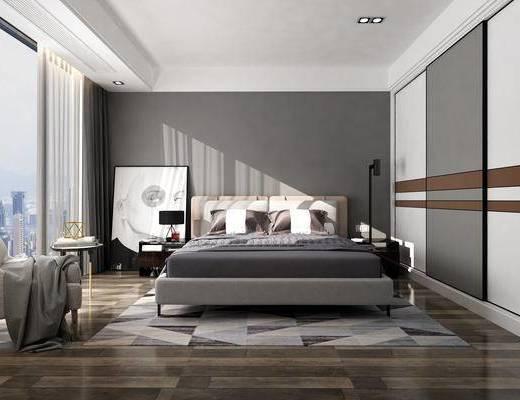 北欧卧室, 卧室, 床, 装饰画