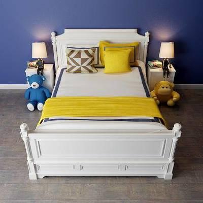 儿童床, 现代, 床, 床头柜, 台灯