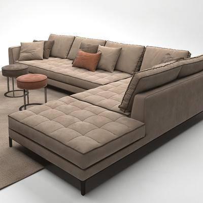 多人沙发, 转角沙发, 地毯, 现代