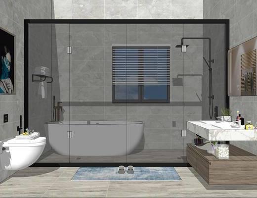 卫浴, 浴缸, 洗浴组合, 洗手盆, 壁镜