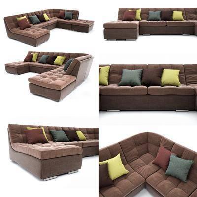 多人沙发, 转角沙发, 沙发, 现代