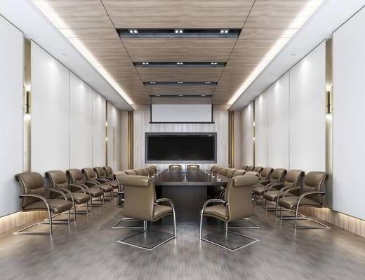 现代, 办公室, 会议室, 会议桌, 椅子, 单椅, 办公椅, 投影, 投影幕