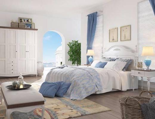 美式卧室, 双人床, 沙发凳, 绿植, 床头柜, 衣柜, 美式