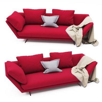 双人沙发, 红色双人沙发, 布艺双人沙发, 现代布艺双人沙发, 现代