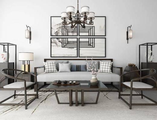 沙发组合, 新中式沙发, 新中式沙发茶几组合