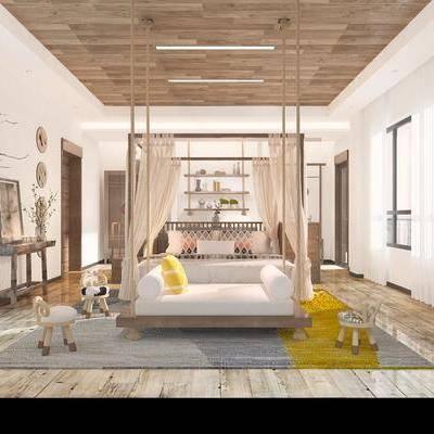 卧室, 双人床, 床尾榻, 小凳子, 装饰画, 摆件, 北欧