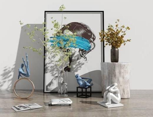 人物组合, 花卉, 花瓶, 植物