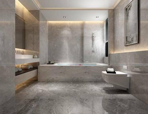 衛生間, 浴缸, 洗手臺組合, 馬桶, 現代