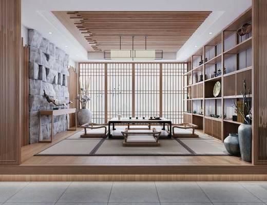 茶室, 吊灯, 背景墙, 茶具组合, 端景台, 摆件组合