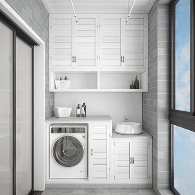 洗衣房, 阳台露台, 洗衣机组合, 现代