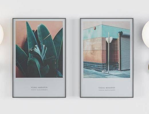 金属壁灯, 挂画组合, 植物画, 建筑画, 装饰画, 现代
