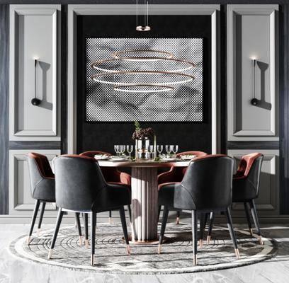 餐桌, 桌椅组合, 餐具组合, 吊灯, 壁灯